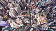 Top view aerial photo from flying drone of a Hong Kong Global City with advanced buildings, transportation, energy power infrastructure. Financial and business centers in developed China town