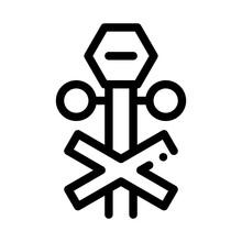 Railroad Crossing Icon Vector. Railroad Crossing Sign. Isolated Contour Symbol Illustration