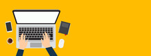 Person Using A Laptop Computer From Above Vector Illustration Banner