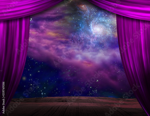 Starry sky behind the purple stage curtains Canvas Print