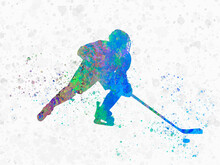 Ice Hockey In Watercolor