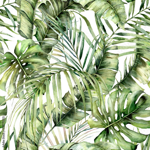Watercolor seamless pattern with jungle palm leaves. Hand painted exotic leaves and branches isolated on white background. Floral tropical illustration for design, print, fabric or background. Wall mural