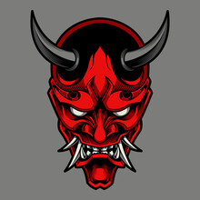 Hannya The Traditional Japanese Demon Oni Mask Illustration And Tshirt Design