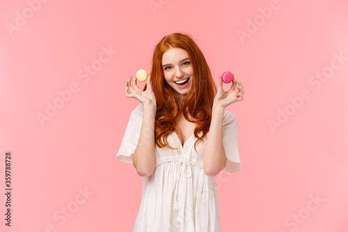Fotografia, Obraz Girl inviting sit with her enjoy tea with desserts