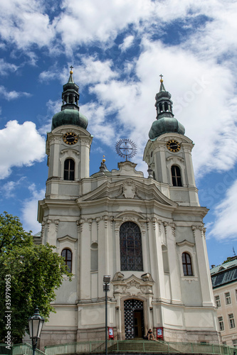 Church of Saint Mary Magdalene in center of Karlovy Vary Canvas Print