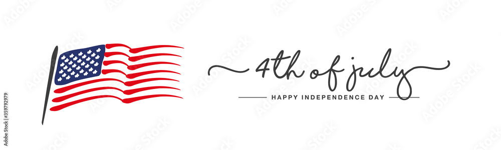 Fototapeta Happy Independence day 4th of july handwritten typography US abstract wavy flag white background banner