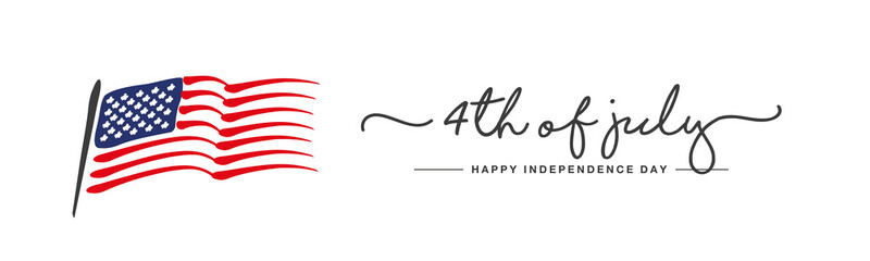 Happy Independence day 4th of july handwritten typography US abstract wavy flag white background banner
