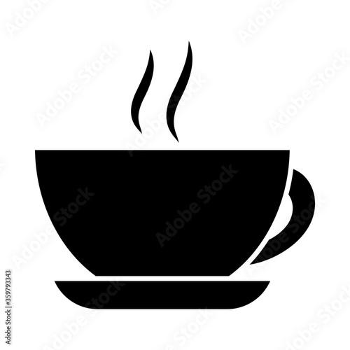 Fototapeta hot coffee cup, silhouette style