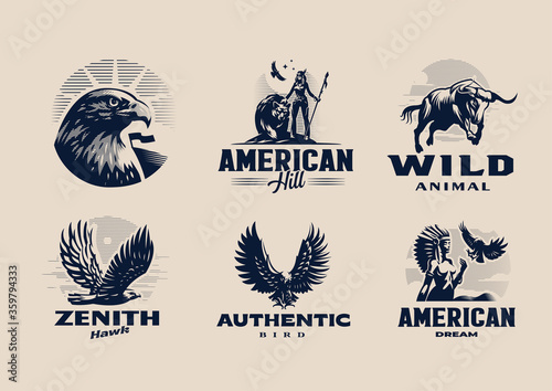 A set of illustrations on the American theme. Fototapet