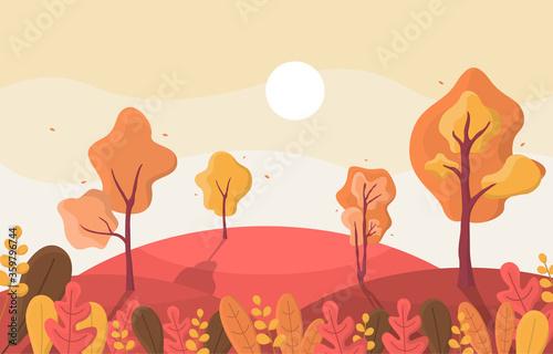 Carta da parati Autumn Fall Season Tree Golden Yellow Hill Panoramic Landscape