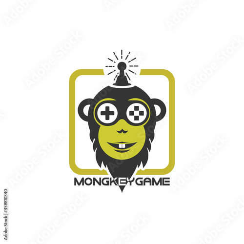 Monkey face mascot gaming logo design vector with modern illustration concept style for badge, emblem, sticker and t shirt printing. smiley Monkey illustration for e sport team and gaming.