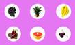 Leinwandbild Motiv sticker icons with fruits - grapes, pineapple, bananas, Dragon fruit, grapefruit, cherries