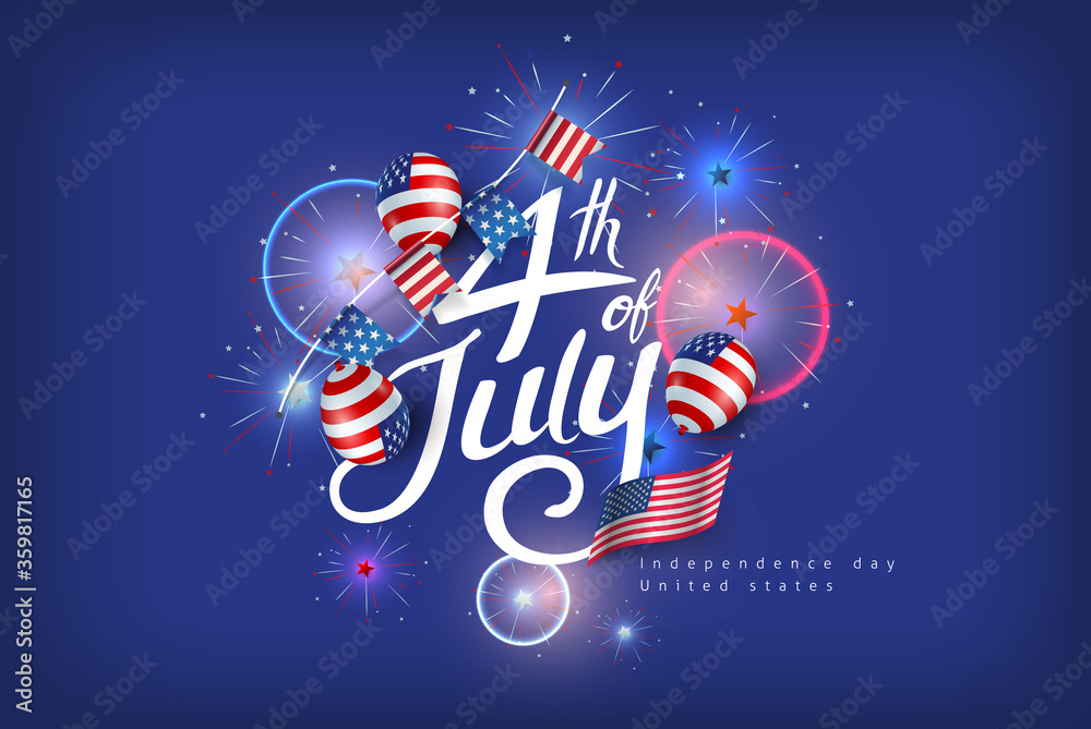 Fototapeta Independence day USA banner template american balloons flag and flags Garlands decor.4th of July celebration poster template.fourth of july calligraphy vector illustration .