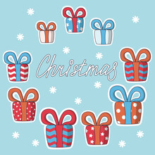 Christmas Presents Of Various Size And Color. Vector Illustration In Cute Cartoon Style On Light Blue Background