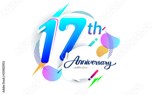 17th years anniversary logo, vector design birthday celebration with colorful geometric background, isolated on white background Canvas Print