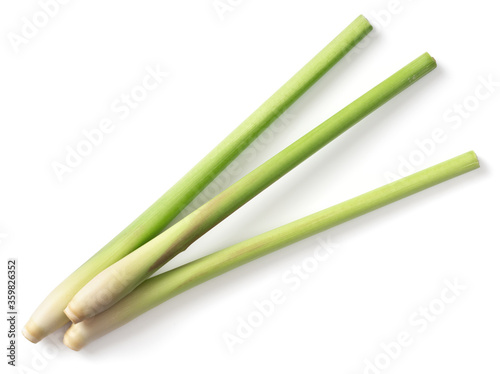 Fotografía fresh lemongrass stems isolated on white background, top view