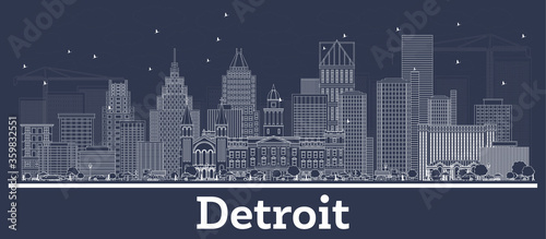 Outline Detroit Michigan City Skyline with White Buildings. Canvas