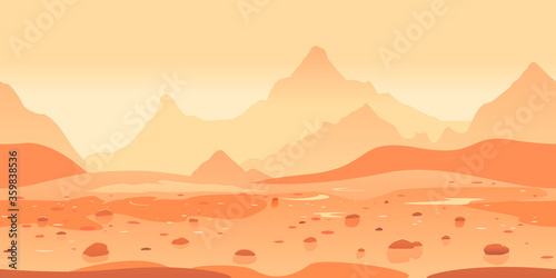 Photo Martian landscape game background tillable horizontally, orange sand hills with
