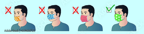 Obraz How to wear mask correctly. How tu use mask properly. Correct ways to wear face mask. - fototapety do salonu