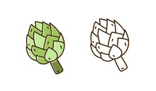 Set Of Natural Artichoke In Monochrome And Colorful Line Art Style. Organic Seasonal Vegetable Vector Illustration. Vegetarian Product For Dieting And Healthy Lifestyle Isolated On White Background