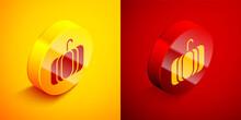 Isometric Pumpkin Icon Isolate...