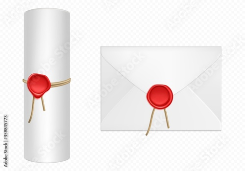 Valokuva White envelope and scroll with red wax and rope template