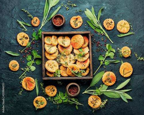 Cookies with herbs. Fototapet