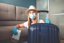 Travel. Masked Girl Puts Her T...