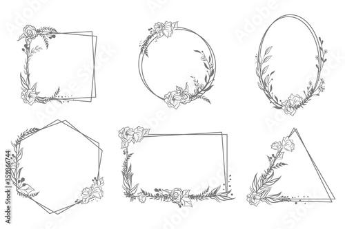 Photo Various hand drawn floral geometric frames set