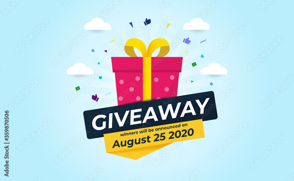 Fototapeta Giveaway Banner Template Design For Social Media Post. Gift Offer Banner, Giveaways Post And Winner Reward In Contest, Prize In Boxes. Vector Illustration