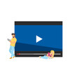 Picture of people watching video background. Vector illustration.