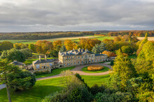 Bowcliffe Hall Yorkshire Stately Home, Wedding Venue And Offices Close To The A1, York, Leeds And Bramham Park. Drone Photo Showing The Front Of The Main Building And Trees On An Autumn Day