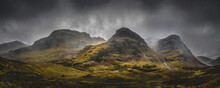 The Three Sisters Mountains, Glencoe In The Scottish Highlands. Famous Three Peaks Of Glencoe.