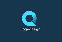 Initial Letter Q Logo. Blue Blue Bright Circle Origami Style Isolated On Blue Background. Usable For Business And Technology Logos. Flat Vector Logo Design Template Element.