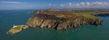 Panoramic Photo Of South Stack Lighthouse Near Holyhead Anglesey Aerial Taken From Out At Sea Showing The Island And Rocky Cliffs