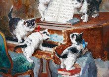 Cute Little Kittens Are Playing On The Piano. Oil Painting On Canvas.