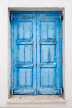 Faded Old Rustic Blue Door On ...
