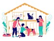 Pet shelter vector concept flat style design illustration. Mother with her son adopting cute dog from animal shelter or rescue center. Homeless pet adoption.