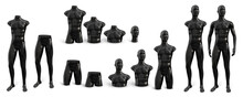 Male Standing Mannequin For Clothes In Black Plastic. Set From Different Parts Of The Body. Vector 3d Realistic Illustration Isolated On White Background. Decor For Shop Windows.