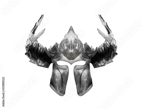 Photo Knight helmet isolated on a white background.