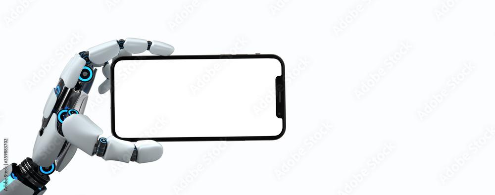 Fototapeta Humanoid Robot Hand Smartphone White Screen