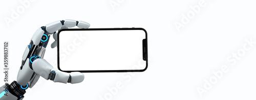 Papel de parede Humanoid Robot Hand Smartphone White Screen