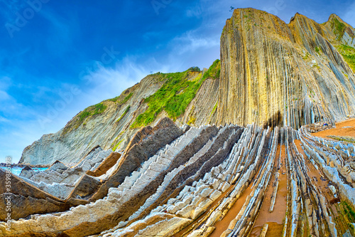 Steeply-tilted Layers of Flysch, Flysch Cliffs, Basque Coast UNESCO Global Geopark, European Geopark Network, Zumaia, Guipúzcoa, Basque Country, Spain, Europe