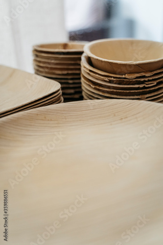 sustainable bamboo cutlery and plates Canvas Print