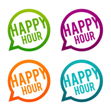 Happy Hour Buttons On White Ba...