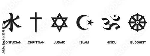 Fényképezés World religion symbols - Christianity, Islam, Hinduism, Confucian, Buddhism and Judaism, with English labeling