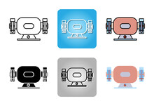 Bench Grinder Or Grinding Machine  Icon Set Isolated On White Background For Web Design