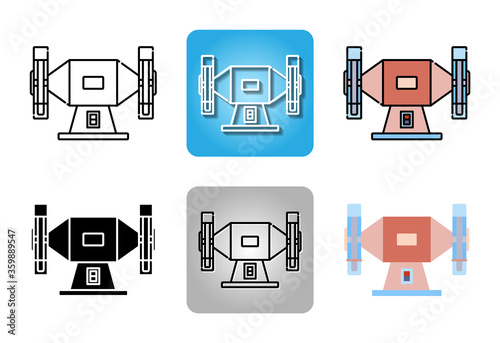 Fotografie, Obraz bench grinder or grinding machine  icon set isolated on white background for web