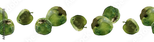 Obraz Seamless border of green apples isolated on white. Watercolour illustration. For duct tape, lace trim, textile, menu, recipes, stationary and packaging design. - fototapety do salonu