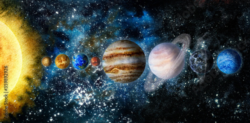 Foto Space hand drawn watercolor background illustration